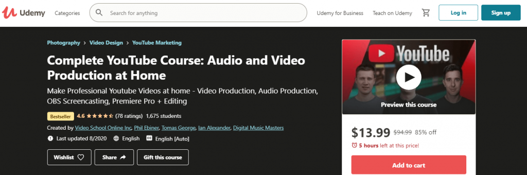 Complete YouTube Course Audio and Video Production at Home