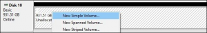 Create New Volume in Disk Management