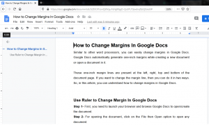 Google Docs Margin Change