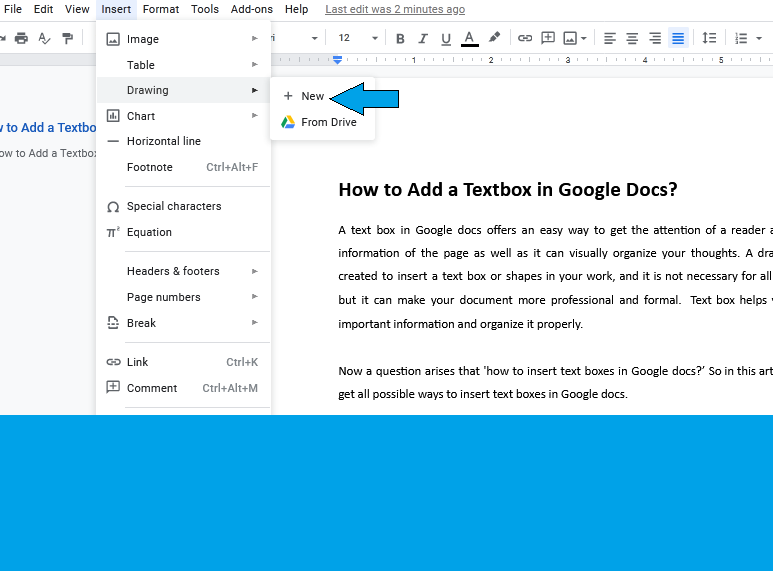 Insert a Textbox in Google Docs