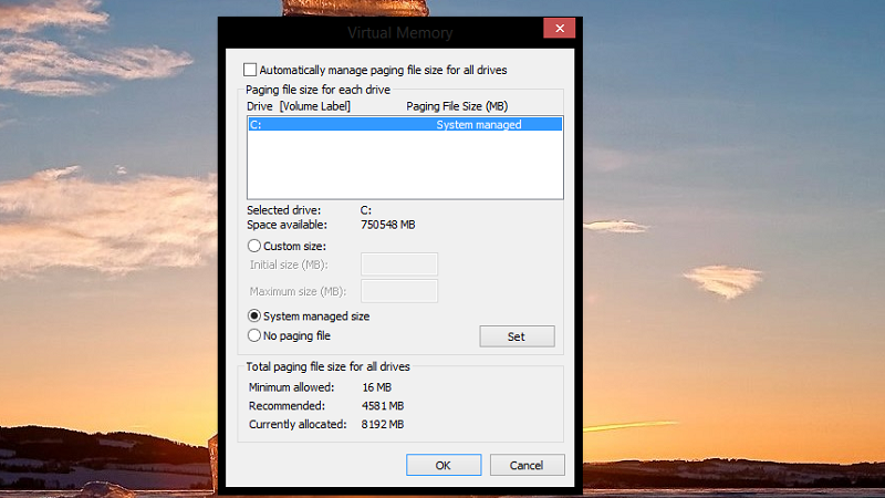 'Automatically manage paging file size of each drive' pagefile.sys