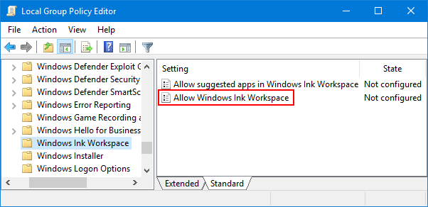 Disable Windows Ink Using Group Policy