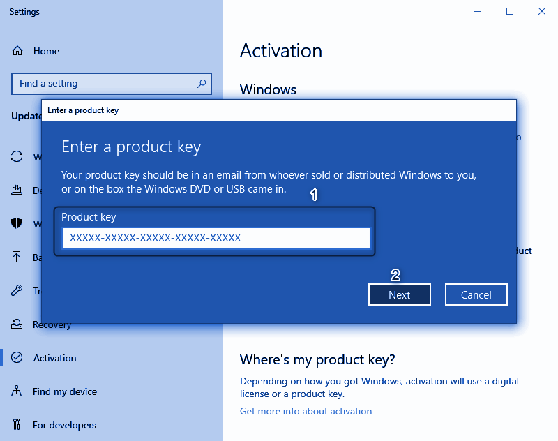 Enter Windows Product Key