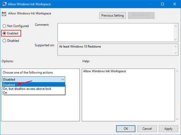 Group Policy Allow Windows Ink Workspace