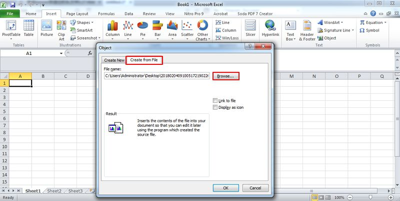 How To Insert PDF Into Excel Select Doc