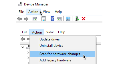 Select Action on Device Manager Battery Icon Missing