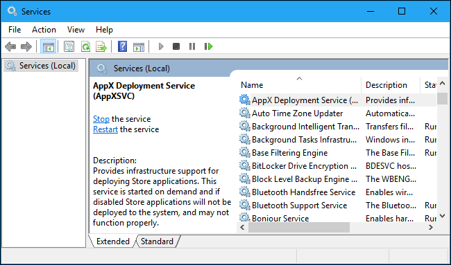 Services.msc WSAPPX High Disk Issue