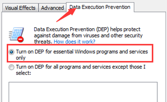 Turn on DEP for essential Windows programs and services only