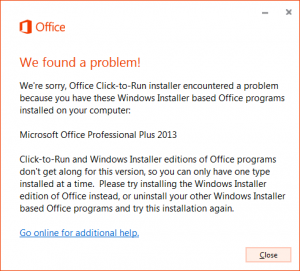 Uninstall Click-to-Run in Microsoft Office