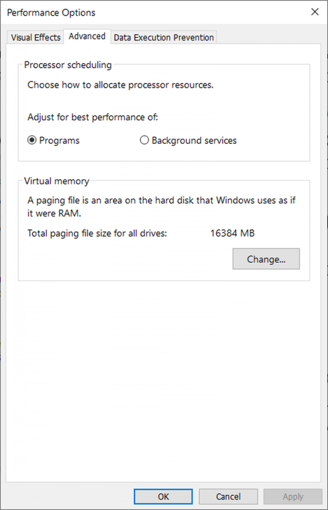 Windows 10 paging file option pagefile.sys