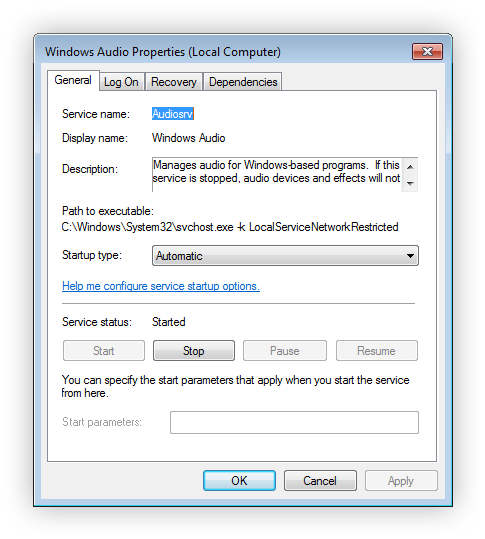 Restart the Windows Audio Service