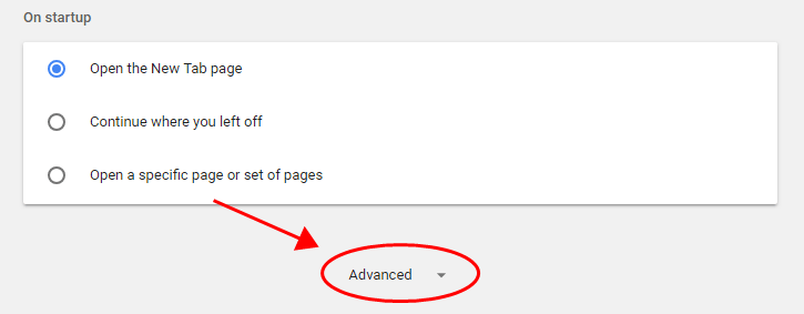 click on the Advanced on Google Chrome