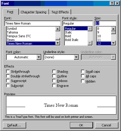 How to Change the Default Font In Word 2002 and 2003