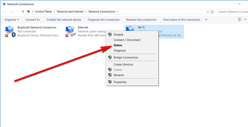 Network and Internet option Find Wifi Password Windows 10