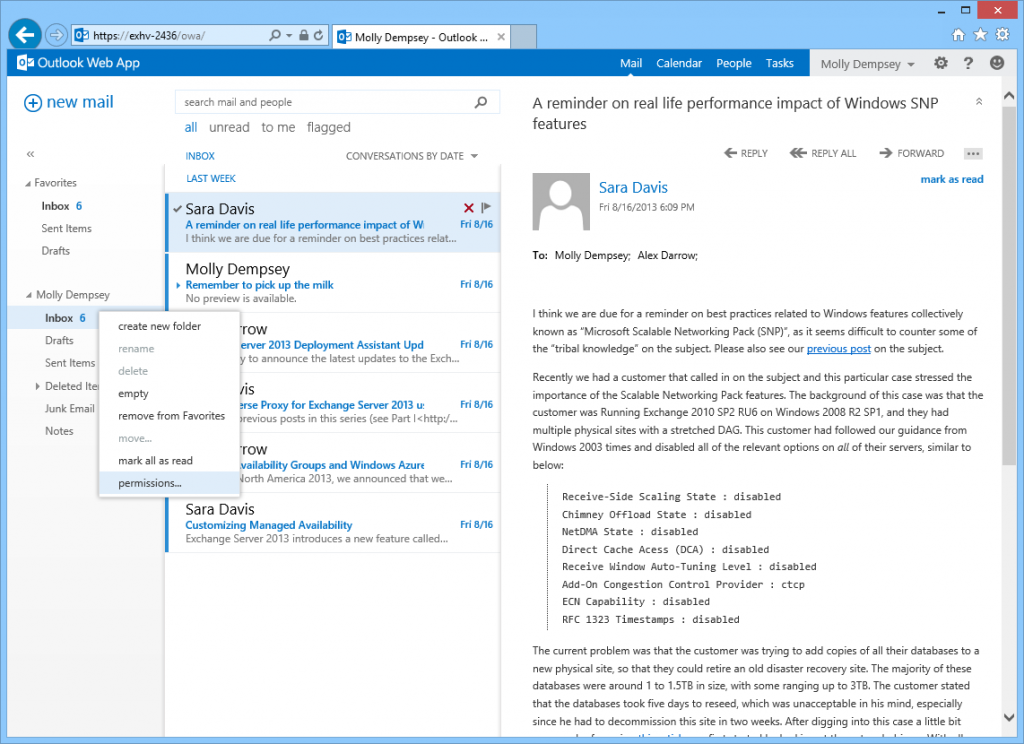 web version of MS Outlook