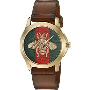 Gucci Quartz Gold and Leather Casual Two-Tone Men's Watch(Model: YA126497)